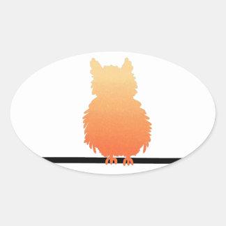 Autumn Owl Silhouette Oval Sticker