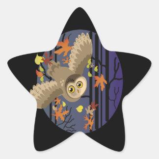 Autumn Owl Star Sticker