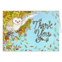 Autumn Owl Thank You Card