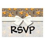 autumn owls pattern custom invitations