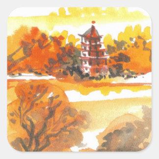 Autumn Pagoda Art Stickers