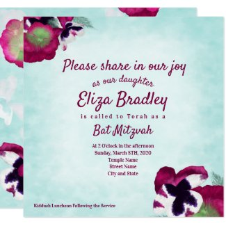 Autumn Pansies Bat Mitzvah Invitation