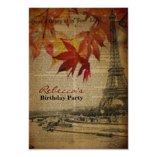 autumn paris french vintage birthday party 3.5x5 paper invitation card