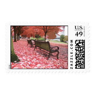 Autumn Park Benches Postage