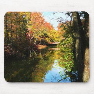 Autumn Park With Bridge Mouse Pads
