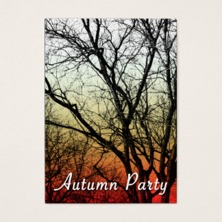 autumn party ghost tree business card