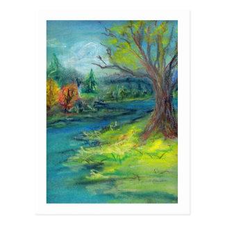 Autumn Pastel Landscape Postcard
