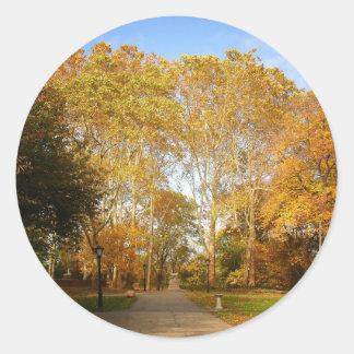 Autumn Path, Central Park, New York City Classic Round Sticker