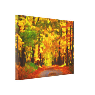 Autumn path stretched canvas print