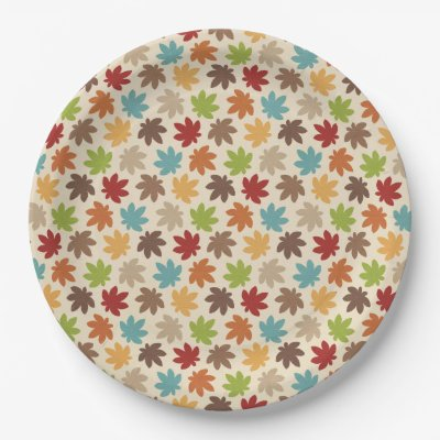 Autumn pattern 7 inch paper plate