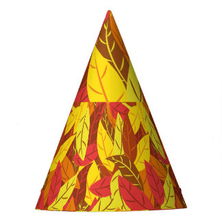 Autumn pattern colored warm leaves party hat