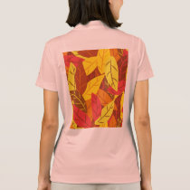 Autumn pattern colored warm leaves polo shirt