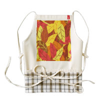 Autumn pattern colored warm leaves zazzle HEART apron