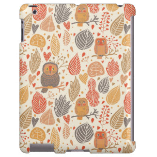 Autumn pattern. Owls in the forest