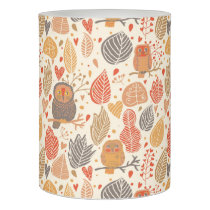 Autumn pattern. Owls in the forest Flameless Candle