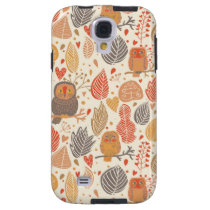 Autumn pattern. Owls in the forest Galaxy S4 Case
