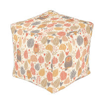 Autumn pattern. Owls in the forest Pouf