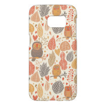 Autumn pattern. Owls in the forest Samsung Galaxy S7 Case