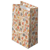 Autumn pattern. Owls in the forest Small Gift Bag