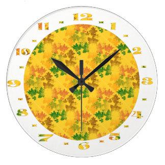 autumn patterns large clock