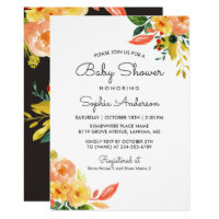 Autumn Peach Floral Adorable Fall Baby Shower Invitation
