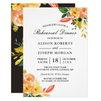 Autumn Peach Floral Fall Wedding Rehearsal Dinner Card
