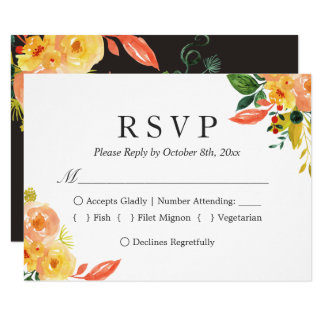 Autumn Peach Watercolor Floral Fall Wedding RSVP Card