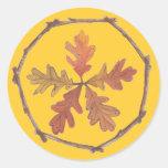 Autumn Pentagram Round Sticker