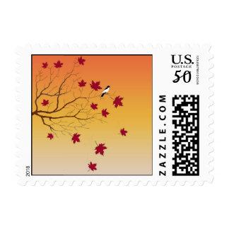 Autumn Perch Postage Stamp