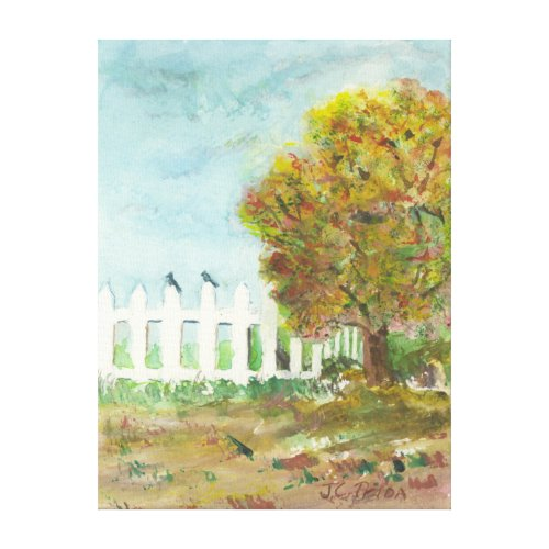 Autumn Picket Fence and Tree with Birds Watercolor Canvas Print