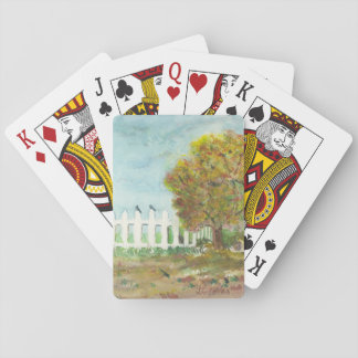 Autumn Picket Fence and Tree with Birds Watercolor Deck Of Cards