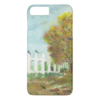 Autumn Picket Fence and Tree with Birds Watercolor iPhone 8 Plus/7 Plus Case