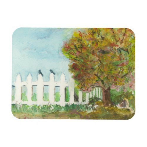 Autumn Picket Fence and Tree with Birds Watercolor Magnet