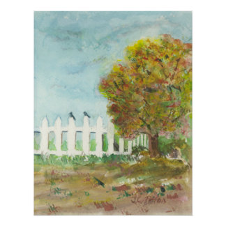 Autumn Picket Fence and Tree with Birds Watercolor Poster