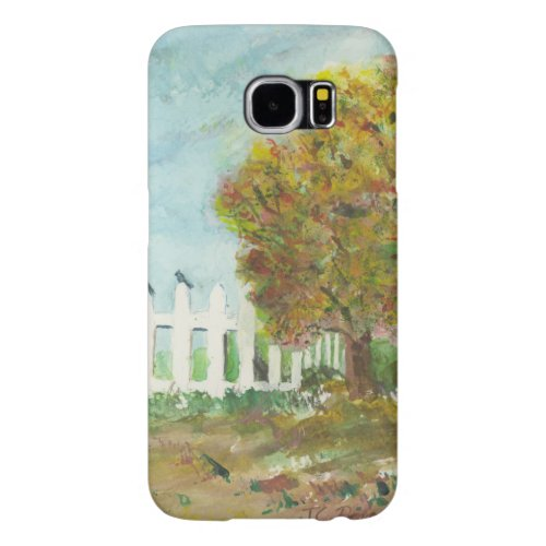 Autumn Picket Fence and Tree with Birds Watercolor Samsung Galaxy S6 Case