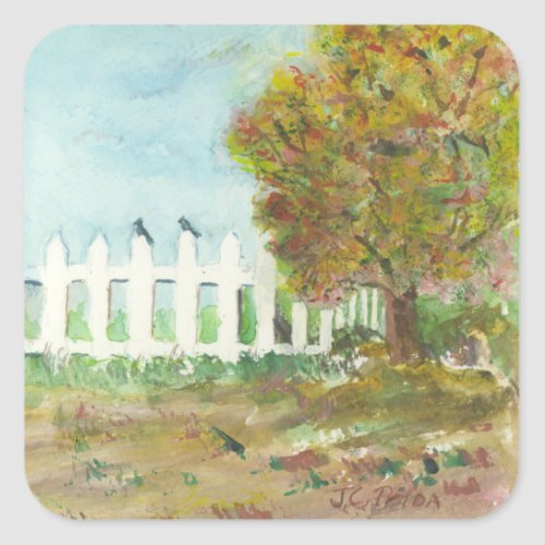 Autumn Picket Fence and Tree with Birds Watercolor Square Sticker