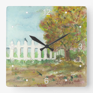 Autumn Picket Fence and Tree with Birds Watercolor Square Wall Clock