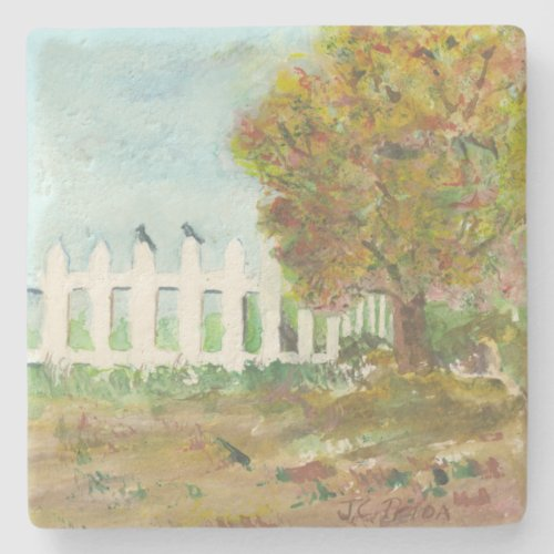 Autumn Picket Fence and Tree with Birds Watercolor Stone Coaster