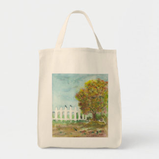 Autumn Picket Fence and Tree with Birds Watercolor Tote Bag