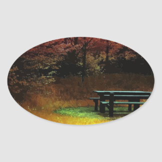 Autumn picnic oval sticker