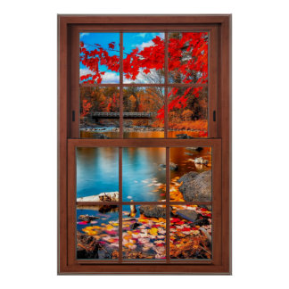 Autumn Picture Window Scenery - Illusion Poster