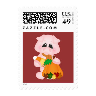 Autumn Pig Postage Stamps