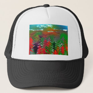 Autumn pine forest trucker hat