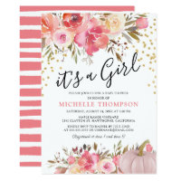 Autumn Pink Pumpkin it's a Girl Floral Baby Shower Invitation