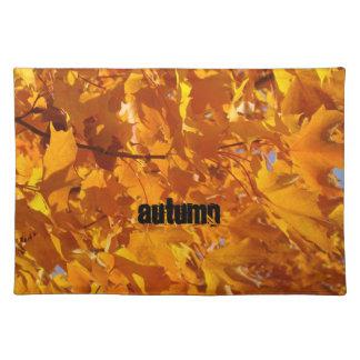 Autumn Placemats Golden Orange Leaves nature