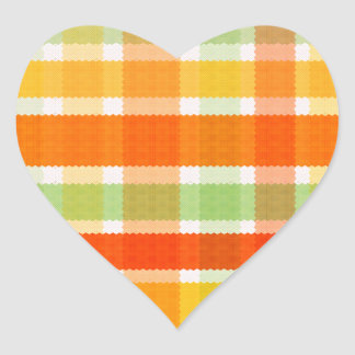 Autumn Plaid Heart Sticker