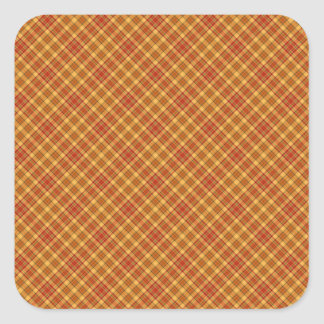 Autumn Plaid Pattern Design Texture Square Sticker