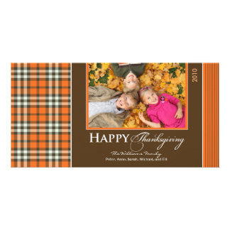 Autumn Plaid Thanksgiving Photocard (orange) Card