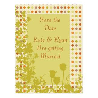 Autumn Polka Dots & Flowers Wedding Postcard