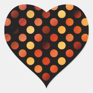 Autumn Polka Dots Heart Sticker